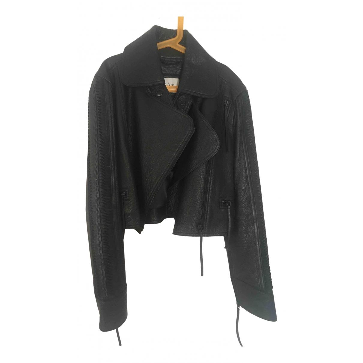 Aje - Veste   pour femme en cuir - noir