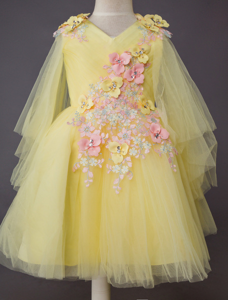 Milanoo Wedding Flower Girl Dress Kids Formal Party Lace Floral Tulle Knee Length Dresses