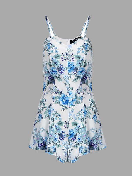 Yoins Random Floral Printing Sleeveless Playsuits