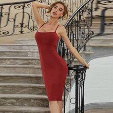 Sesidy vestido vendaje bajo con abertura con cremallera trasera