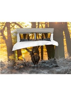 3D Sika Deer Comfortable/Colorfast 4-Piece Durable Scenery Bedding Sets