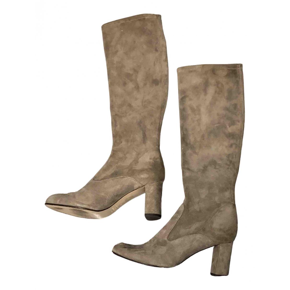 Valentino Garavani N Grey Suede Boots for Women 38 EU