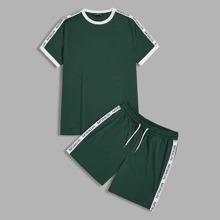 Gruen Ziehbaendchen Schriftzug  Preppy Maenner Zweiteilige Outfits