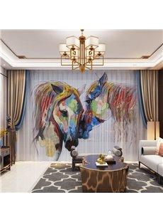 3D Modern Style Artistic Watercolor Horse Printed Decorative 2 Panels Custom Sheer
