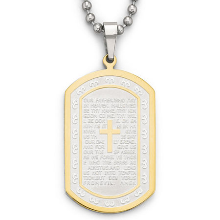 Mens Lord's Prayer Dog Tag Stainless Steel, One Size , No Color Family