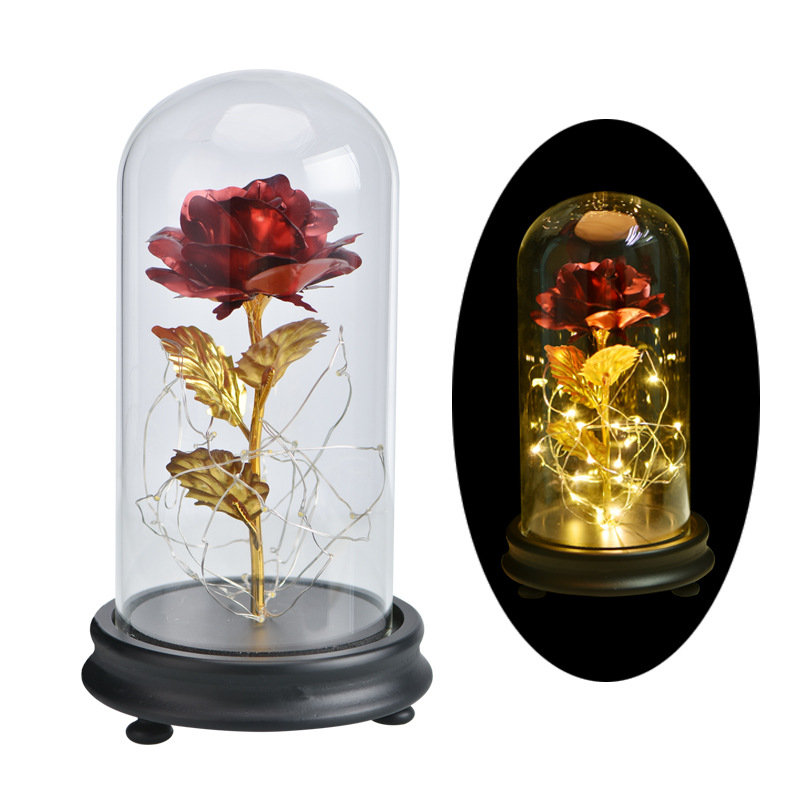 Gold Foil Decoration Flowers Red Golden Eternal Rose with LED Light in Glass Dome Gifts