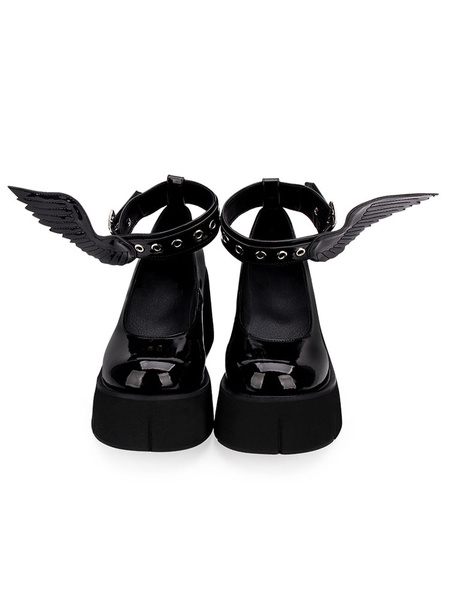 Milanoo Gothic Lolita Pumps Black Wings PU Leather Flatform Lolita Shoes