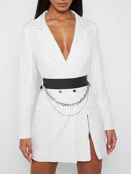 Milanoo Vestidos ajustados blancos Vestido blazer de rayas de manga larga con cuello vuelto para mujer