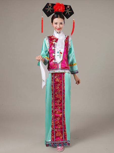 Milanoo Halloween Chinese Costume Mahogany Satin Color Block Long Dress With Waistcoat For Women