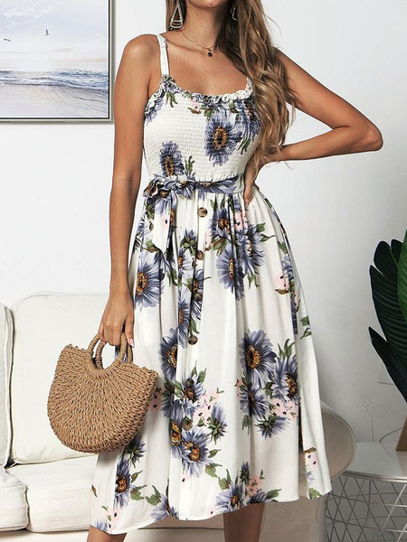 Milanoo Boho Dress Lace Up Straps Neck Sleeveless Floral Printed Knotted Summer Dress