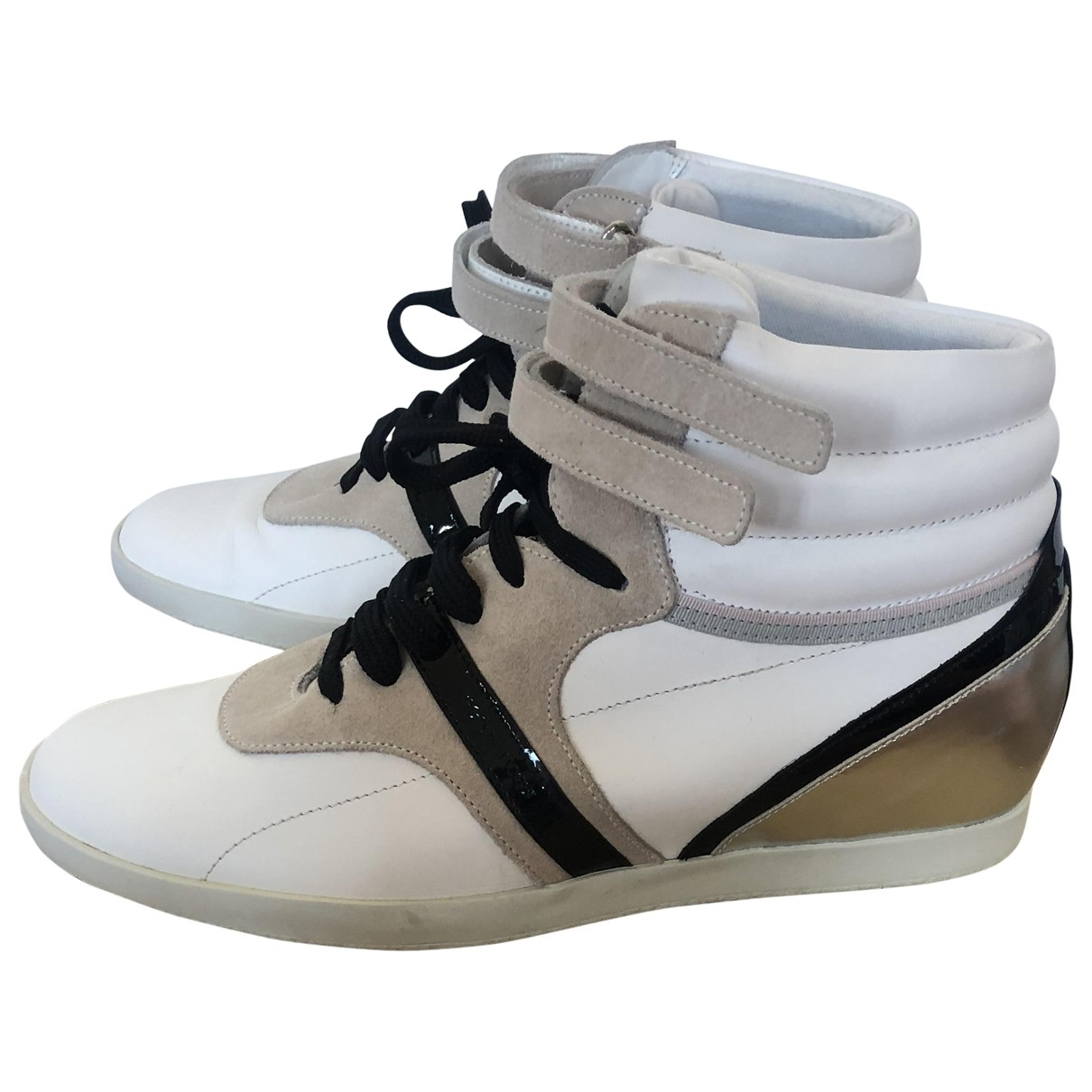 Sergio Rossi - Baskets   pour femme en cuir - blanc