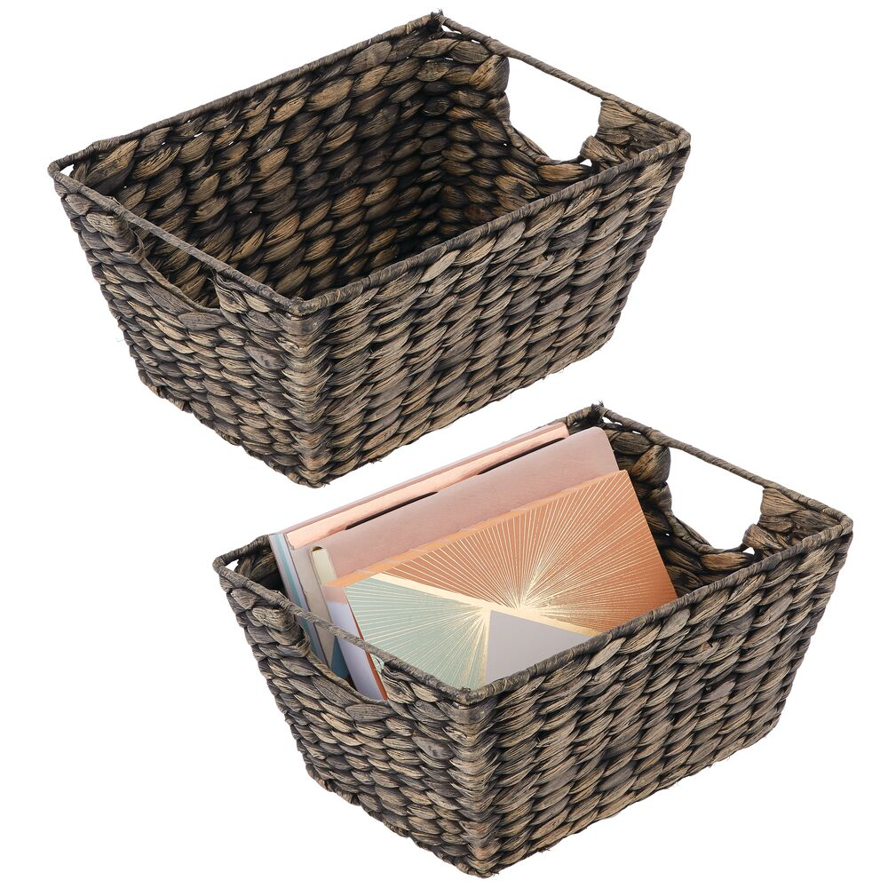 Natural Woven Hyacinth - Storage Cube Basket Bins in Black, Set of 2, by mDesign