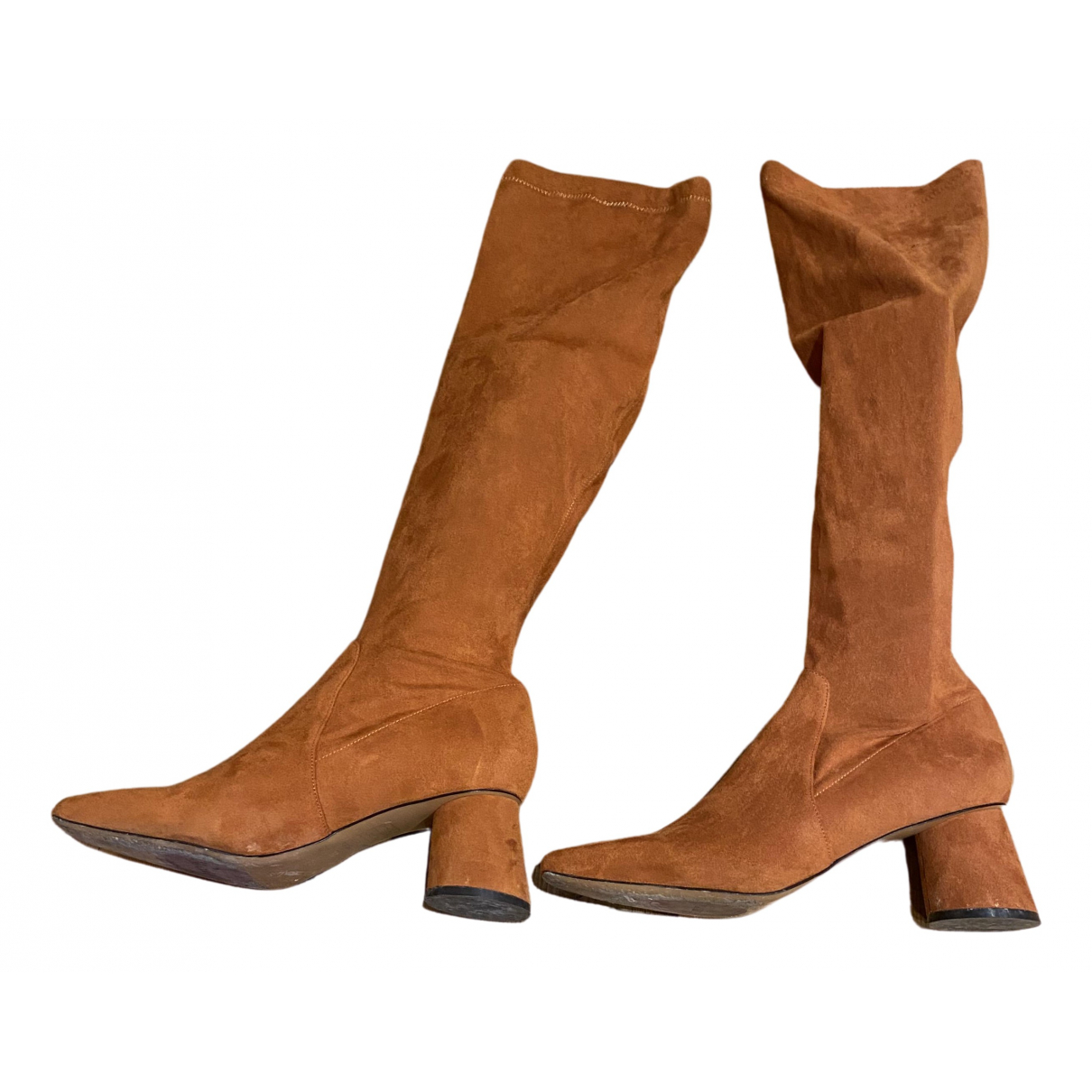 Max & Co \N Orange Suede Boots for Women 38 EU