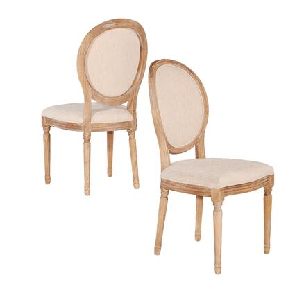 W03480L Avalon Collection Oval Back Chair with Decorative Legs Elm Wood Frame and Fabric Upholstery in Linen