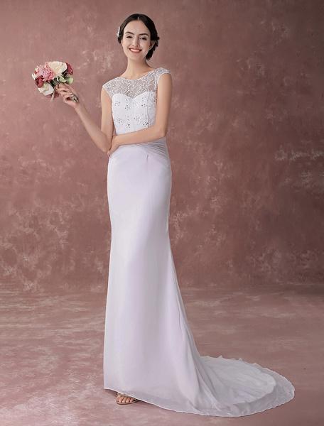Milanoo White Bateau Neck Sheath Court Train Bridal Wedding Gown with Lace
