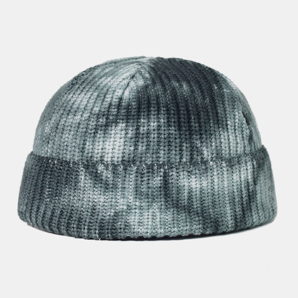 Tie-dyed Cotton Wool Hat Round Top Outdoor Keep Warm Elastic Landlord Skull Hat Knit Hat For Male Female Beanie Hat