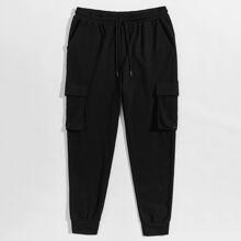Guys Flap Pocket Grommet Detail Sweatpants