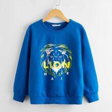 Pullover mit Lowen und Buchstaben Muster