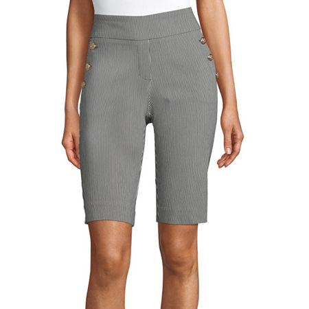 Liz Claiborne Womens Mid Rise Stretch Pull-On Short, Medium , Black