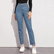 High Rise Raw Hem Washed Jeans