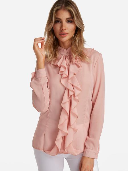 Yoins Pink Flared Design Perkins Collar Long Sleeves Blouse