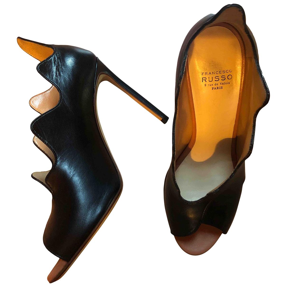 Francesco Russo \N Black Leather Heels for Women 36.5 IT