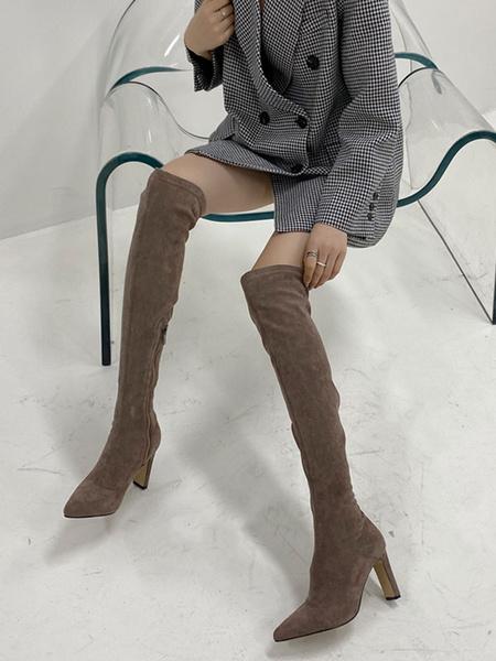 Milanoo Botas sobre la rodilla para mujer Micro Suede Upper Caqui Punta puntiaguda 3.1