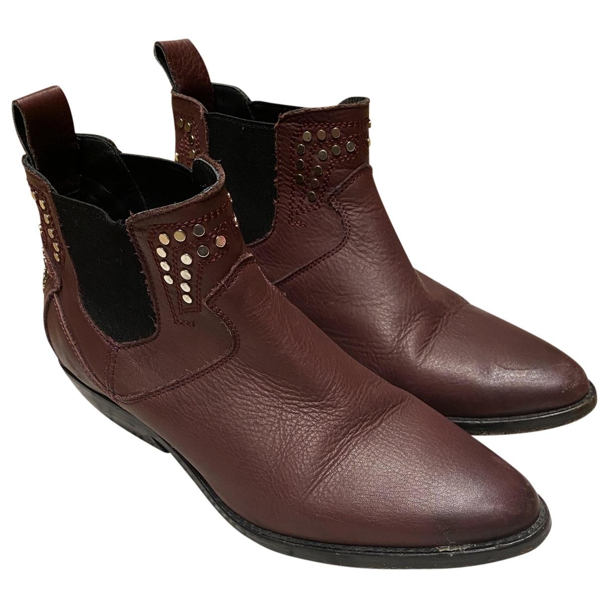Zadig & Voltaire - Boots   pour femme en cuir - bordeaux