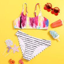 Bikini Badeanzug mit Batik & Streifen