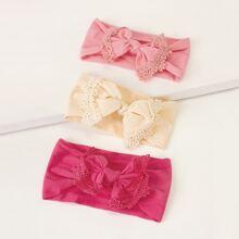 Baby Stirnband mit Spitze und Schleife Knoten Dekor 3 Stuecke