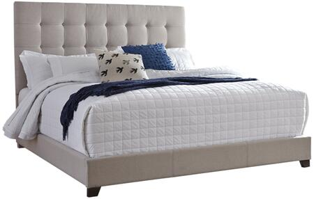 Dolante Collection B130-582 King Size Bed with Fabric Upholstery and Tall Square Button Tufted Headboard in