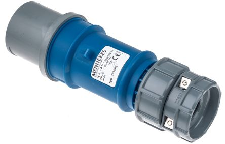 MENNEKES , PowerTOP IP44 Blue Cable Mount 3P Industrial Power Plug, Rated At 16.0A, 230.0 V