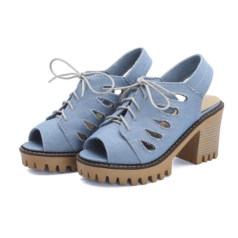Ericdress Peep Toe Chunky Heel Slip-On Thread Sandals