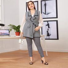Plus Contrast Binding Belted Houndstooth Pattern Vest & Pants Set