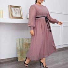 Chiffon Kleid mit Laternenaermeln, Guipure Spitzen Detail und Punkten Muster
