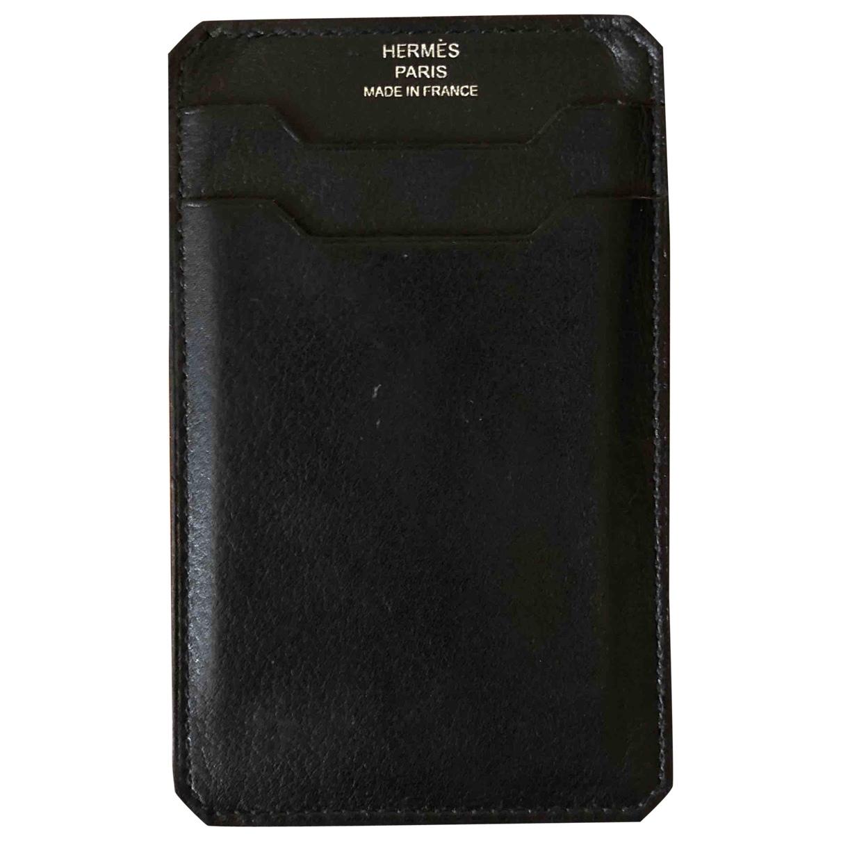 Hermès \N Black Leather Small bag, wallet & cases for Men \N