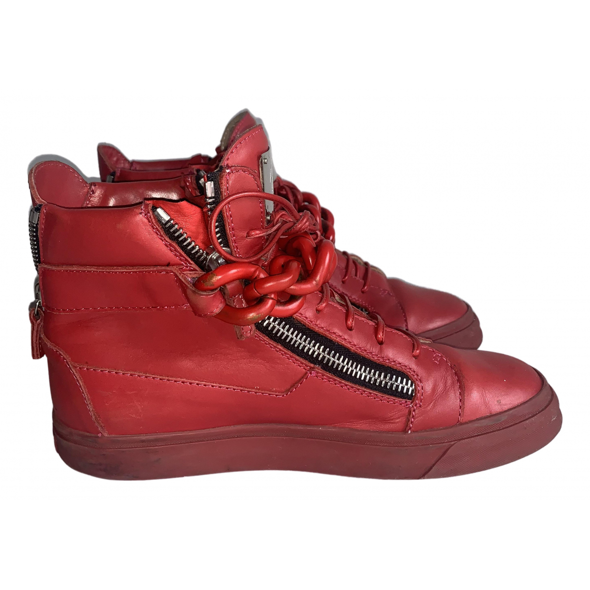 Giuseppe Zanotti Donna Red Leather Trainers for Women 40 EU