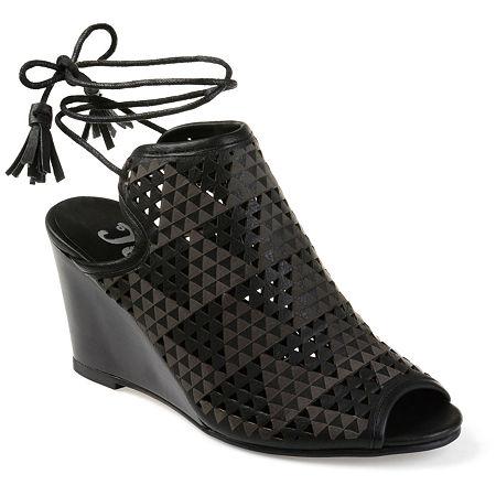 Journee Collection Womens Tandra Pumps Wedge Heel, 11 Medium, Black