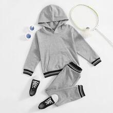 Toddler Boys Striped Hooded Sweatshirt & Pocket Sweatpants
