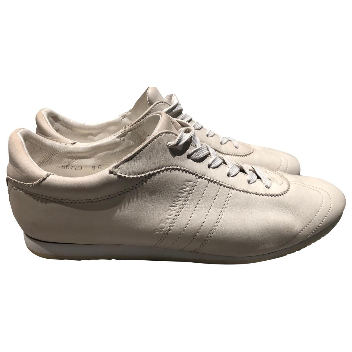 Dolce & Gabbana - Baskets   pour homme en cuir - blanc