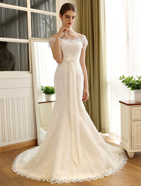 Milanoo Wedding Dresses Mermaid Ivory Lace Off The Shoulder Bridal Gown Chains Beaded Ribbon Bow Sash Slim Fit Bridal Dress With Train