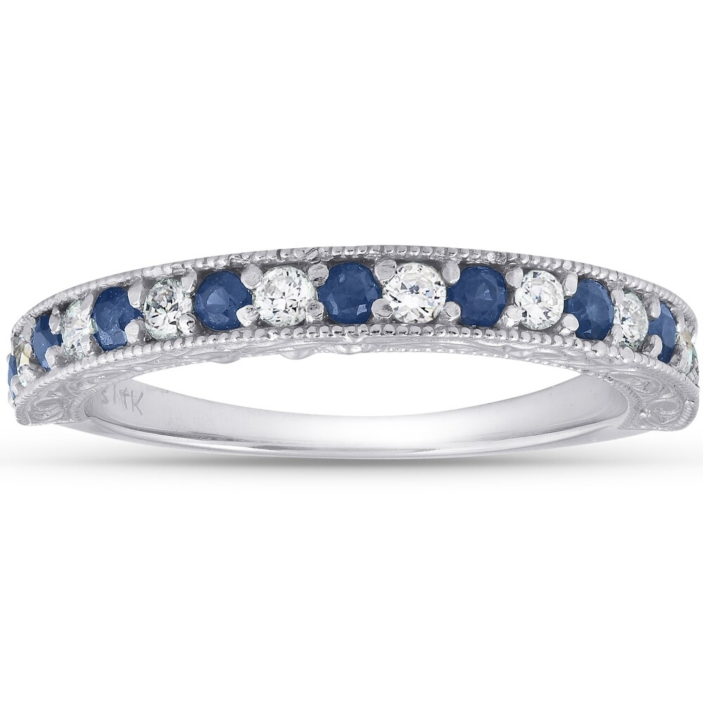 1/2Ct Blue Sapphire & Diamond Wedding Ring Anniversary Stackable Band White Gold (8)