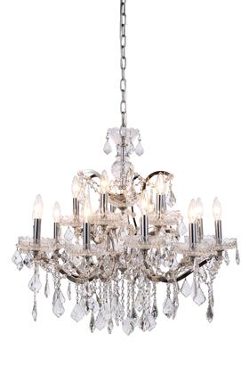 1138D30PN/RC 1138 Elena Collection Pendant Lamp D: 30in H: 28in Lt: 15 Polished Nickel Finish Royal Cut Crystal