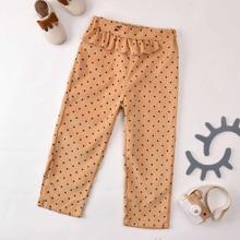 Toddler Girls Ruffle Trim Polka Dot Corduroy Pants