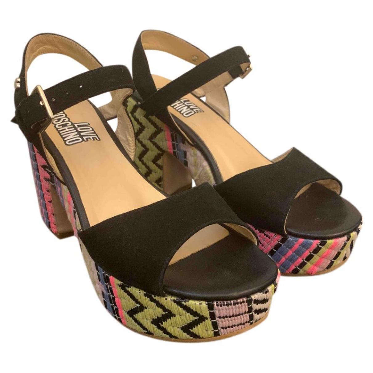 Moschino Love - Sandales   pour femme en velours - noir