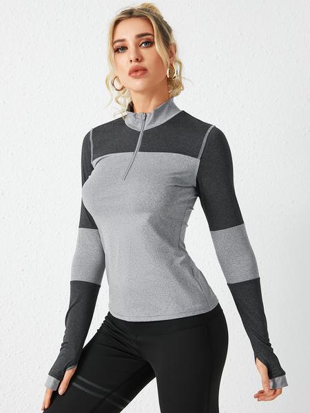 YOINS Grey Zip Front Patchwork Pullover Sweatshirt