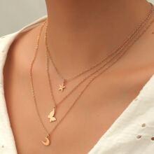 3 piezas collar con diseño de estrella y mariposa