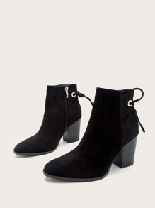 Self Tie Suede Ankle Boots