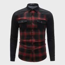 Denim Hemd mit Taschen Klappe vorn und Karo Muster