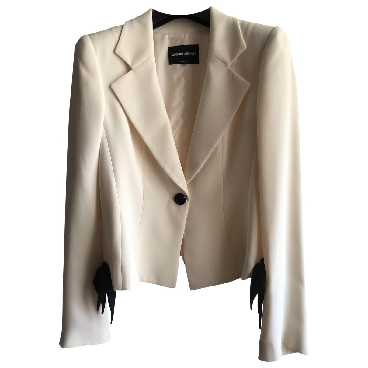 Giorgio Armani \N White Silk jacket for Women 42 IT